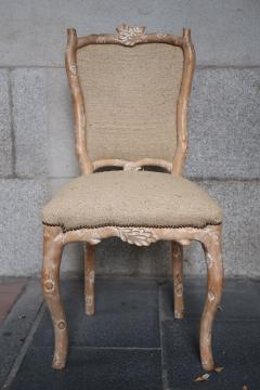 Set of 8 Carved Wood and Indian silk Fabric chairs Italy - 1072098