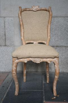 Set of 8 Carved Wood and Indian silk Fabric chairs Italy - 1072100