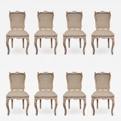 Set of 8 Carved Wood and Indian silk Fabric chairs Italy - 1073757
