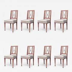 Set of 8 French 1940s Brass Maple Side Chairs - 425572