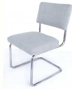 Set of 8 Italian Tubular Chrome Dining Chairs New Upholstery and Cantilevered - 1219101