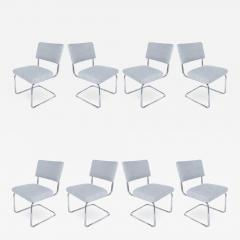 Set of 8 Italian Tubular Chrome Dining Chairs New Upholstery and Cantilevered - 1219199