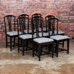 Set of Eight Antique Black Painted Swedish Dining Chairs - 950204