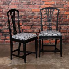 Set of Eight Antique Black Painted Swedish Dining Chairs - 950208