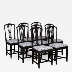 Set of Eight Antique Black Painted Swedish Dining Chairs - 994985