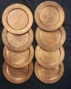 Set of Eight Arts Crafts Copper Under Plates - 1383105
