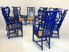 Set of Eight Chinoiserie Blue Lacquered Dining Chairs - 462269
