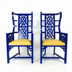 Set of Eight Chinoiserie Blue Lacquered Dining Chairs - 462271