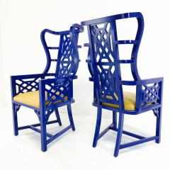 Set of Eight Chinoiserie Blue Lacquered Dining Chairs - 462272