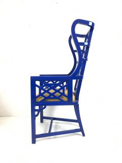 Set of Eight Chinoiserie Blue Lacquered Dining Chairs - 462273