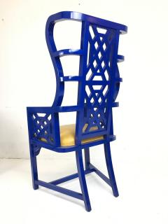 Set of Eight Chinoiserie Blue Lacquered Dining Chairs - 462274