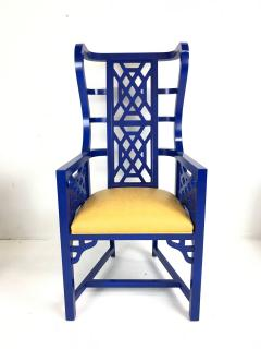 Set of Eight Chinoiserie Blue Lacquered Dining Chairs - 462276