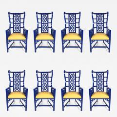 Set of Eight Chinoiserie Blue Lacquered Dining Chairs - 462554