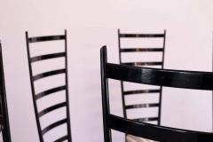 Set of Eight Ebonized Midcentury Italian Modern Tall Ladder Back Dining Chairs - 1555335