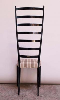 Set of Eight Ebonized Midcentury Italian Modern Tall Ladder Back Dining Chairs - 1555337