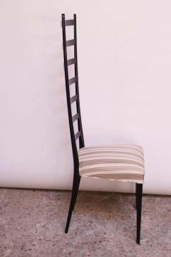 Set of Eight Ebonized Midcentury Italian Modern Tall Ladder Back Dining Chairs - 1555338