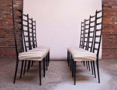 Set of Eight Ebonized Midcentury Italian Modern Tall Ladder Back Dining Chairs - 1555342