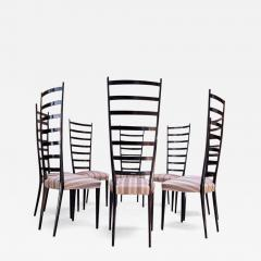 Set of Eight Ebonized Midcentury Italian Modern Tall Ladder Back Dining Chairs - 1555516