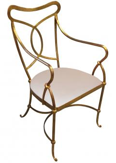 Set of Eight French Solid Wrought Iron Dining Chairs with Gilt Finish - 703100