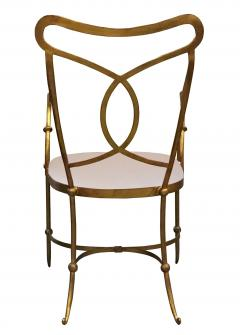 Set of Eight French Solid Wrought Iron Dining Chairs with Gilt Finish - 703101