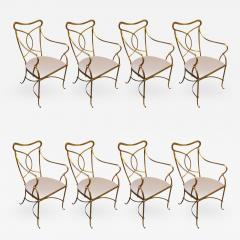 Set of Eight French Solid Wrought Iron Dining Chairs with Gilt Finish - 703361