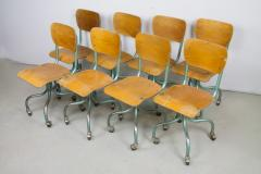 Set of Eight Plywood Rolling School Chairs - 258524