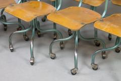 Set of Eight Plywood Rolling School Chairs - 258525