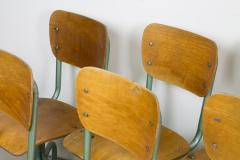 Set of Eight Plywood Rolling School Chairs - 258526