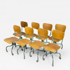 Set of Eight Plywood Rolling School Chairs - 259344