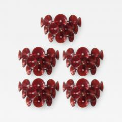 Set of Five Vintage Italian Sconces Murano Glass Designed by Visoti - 2091751