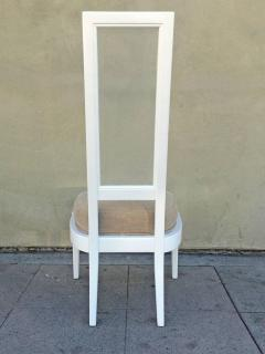 Set Of Four 1970s White Lacquer And Lucite Dining Chairs   57422
