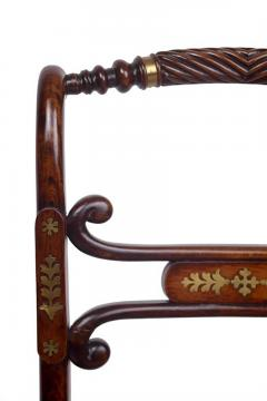 Set of Four 19th Century Regency Rosewood Cane Chairs with Brass Inlay - 426088