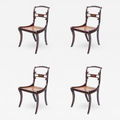 Set of Four 19th Century Regency Rosewood Cane Chairs with Brass Inlay - 426144