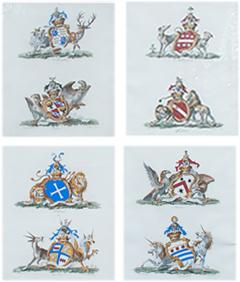 Set of Four Armorial Engravings by Charles Catton - 1200997