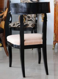 Set of Four Baltic Neoclassic Ebonized and Penwork Klismos Chairs - 391150