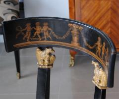 Set of Four Baltic Neoclassic Ebonized and Penwork Klismos Chairs - 391151