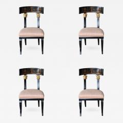 Set of Four Baltic Neoclassic Ebonized and Penwork Klismos Chairs - 410138