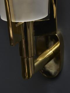 Set of Four Brass Wall Sconces with Tall Frosted Glass Cones - 1676411