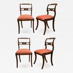 Set of Four English Regency Brass Inlay Side Chairs - 205664