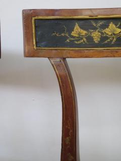Set of Four English Regency Fruitwood Side Chairs Chinoiserie Decorated - 2006874