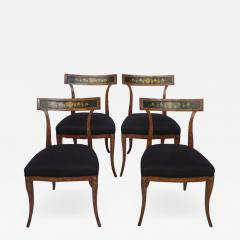 Set of Four English Regency Fruitwood Side Chairs Chinoiserie Decorated - 2012976