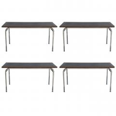 Set of Four French Modernist Rectangular Chrome and Mahogany Tables - 1080933