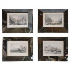 Set of Four Hand Colored Engravings in Antique Mirror Frames - 252928