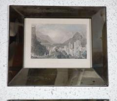 Set of Four Hand Colored Engravings in Antique Mirror Frames - 252931