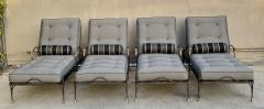 Set of Four Iron and Statuary Bronze Lounge Chairs with Upholstered Cushions - 1964241