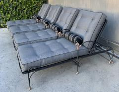 Set of Four Iron and Statuary Bronze Lounge Chairs with Upholstered Cushions - 1964242