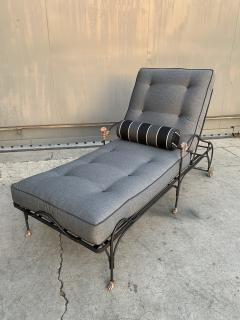Set of Four Iron and Statuary Bronze Lounge Chairs with Upholstered Cushions - 1964249