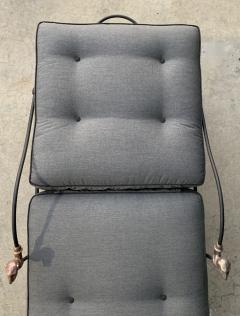 Set of Four Iron and Statuary Bronze Lounge Chairs with Upholstered Cushions - 1964250