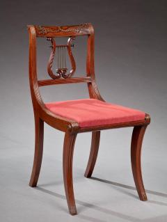 Beau Set Of Four Lyre Back Federal Side Chairs   236325