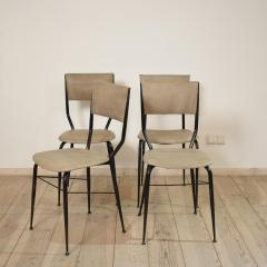 Set of Four Midcentury Italian Metal and Leather Dining Chairs - 636602